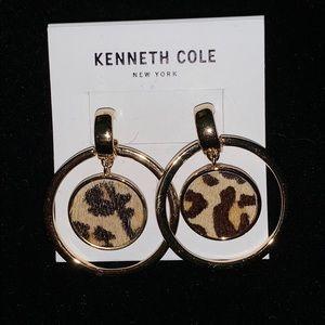 Kenneth Cole Animal Print Circle Goldtone Earrings